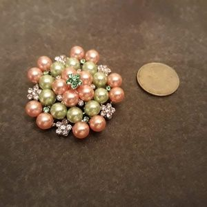 Pink and Green Rhinestone and Pearl Brooch